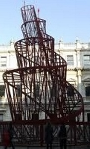 Tatlin's tower rebuilt in front of the Royal Academy