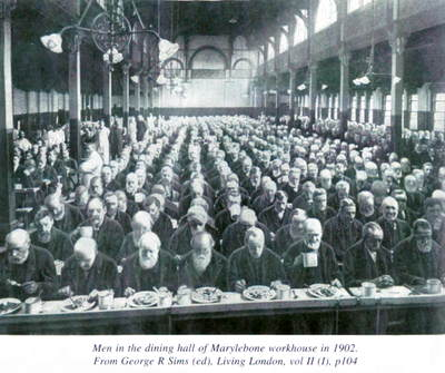 inside the Workhouse with men sitting to eat in rows